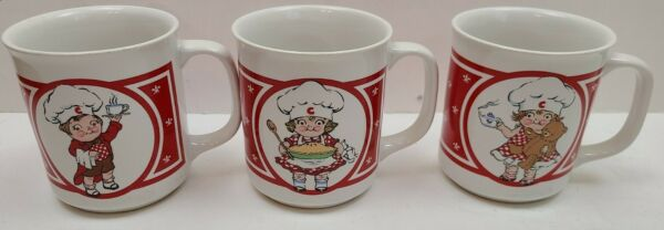 VTG Lot Of 3 Different Children Chef Cook Red Dishes CSC Coffee Cups Mugs Taiwan $32.18