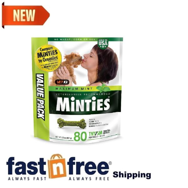 VetIQ Minties Dog Dogs Dental Chews Bone FRESHENS BREATH amp; CLEAN TEETH 80 Treats $19.98