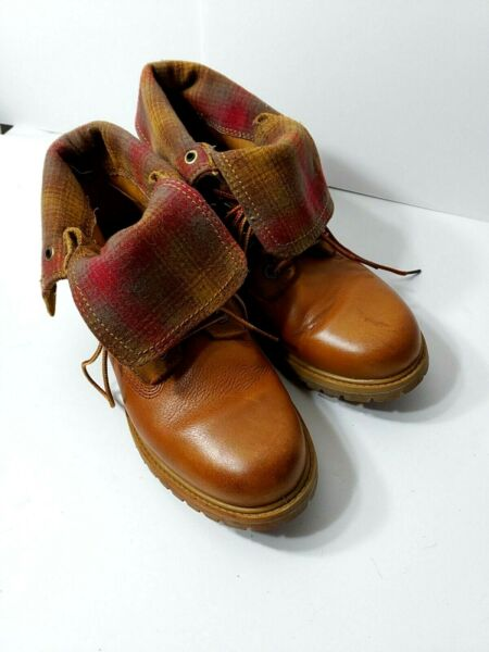 Timberland Pendleton Leather Plaid Fold down Boot Size 9 $59.99