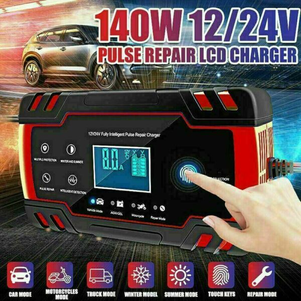 Car Battery Charger 12V 8A 24V 4A Automatic Smart Battery Charger Maintainer $26.99