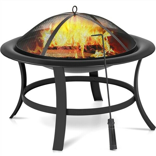 29in Fire Pit Outdoor Wood Burning Steel Firepits Bowl with Spark Screen for BBQ $59.99