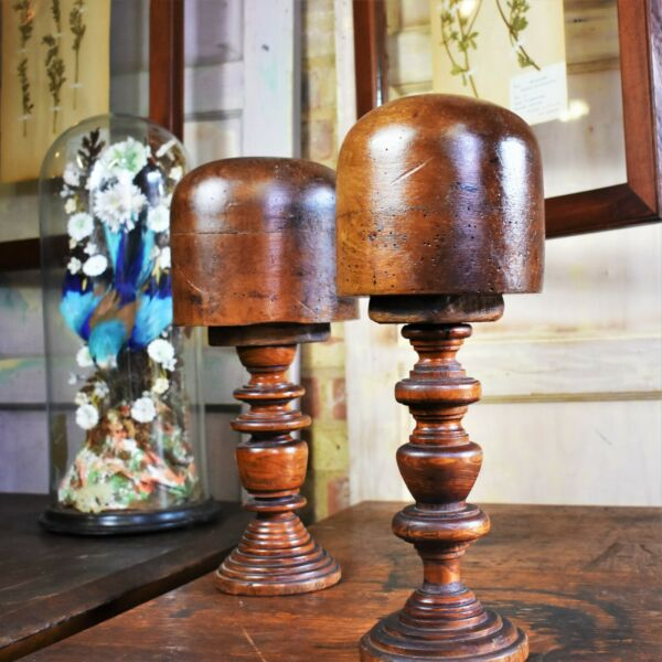 Antique 19th Century Milliners Hat Blocks Haberdashery Turned Wooden Base Pair