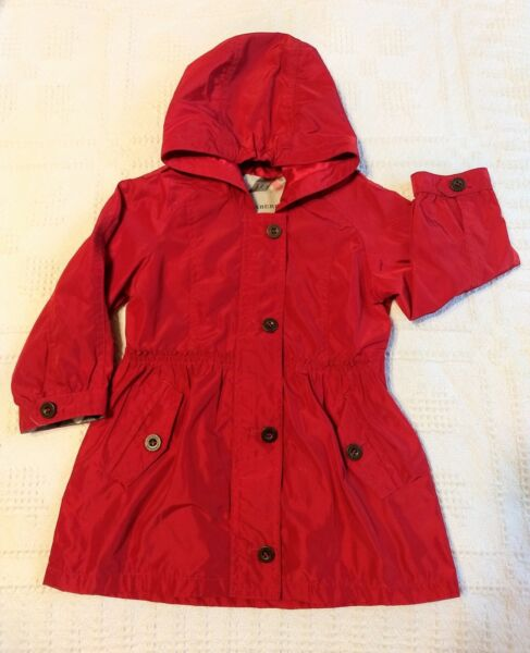 EUC Authentic Burberry 18 month Toddler Girls Spring Lined Trench Coat Red $125.00