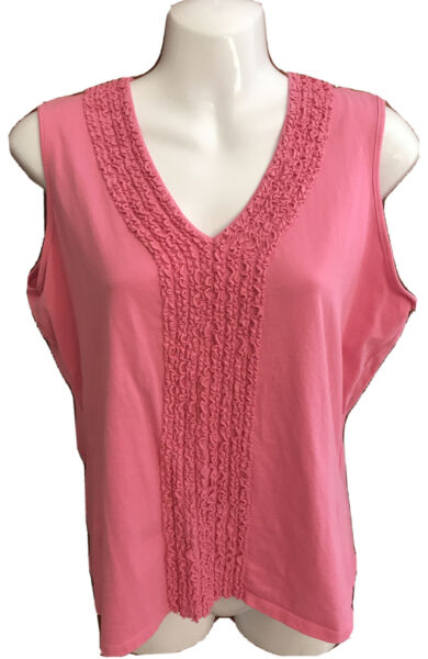 Talbots Ladies Tank Top Pink Sleeveless 100% Cotton With Ruffled Front Large $5.00
