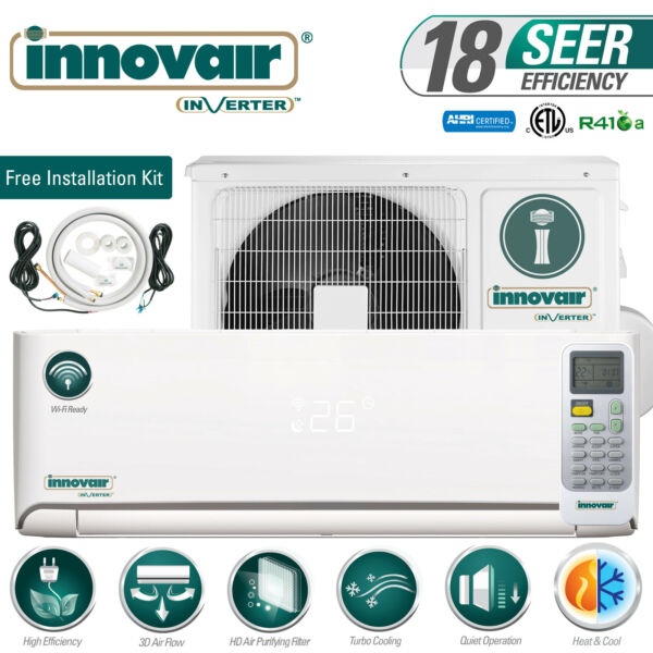12000 BTU Mini Split Air Conditioner Heat Pump Ductless 115V INNOVAIR 18 SEER $679.00