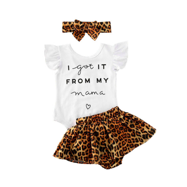Newborn Baby Girl Clothes Romper Tops Leopard Skirts Shorts Headband Outfit Set