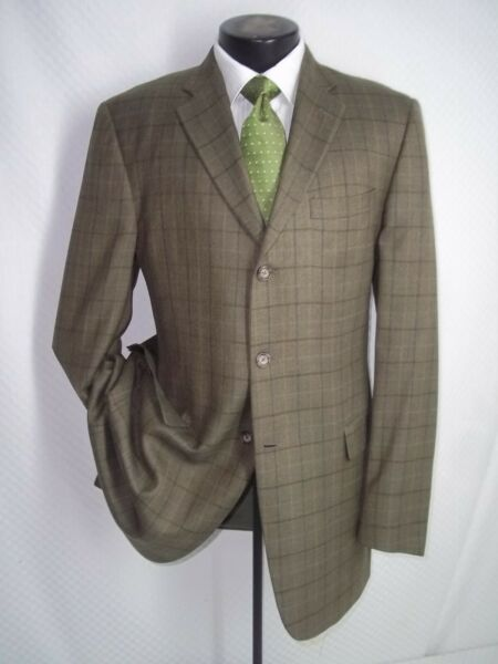 Burberry Green Plaid 3 Buttons Side Vents Wool amp; Silk Slim Fit Jacket Coat 42 L $139.00