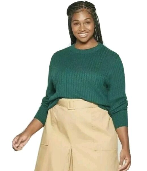 Womens Top Dark Green Sweater Knitted Pullover Ribbed Plus Size 3X by Ava amp; Viv $12.59