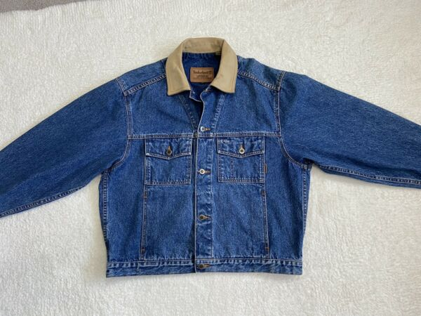 Vintage 90s Timberland Weathergear Men's M Denim Jean Jacket Leather Collar Blue $55.00