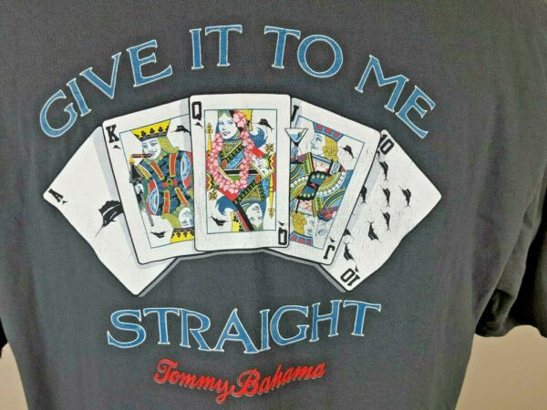 Tommy Bahama Mens Large T Shirt Give It To Me Straight Short Sleeve Tee Poker $19.99