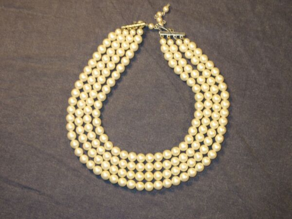 Vintage 4 Strand Faux PEARLS in White Signed JAPAN CHOKER Length 13 15 in