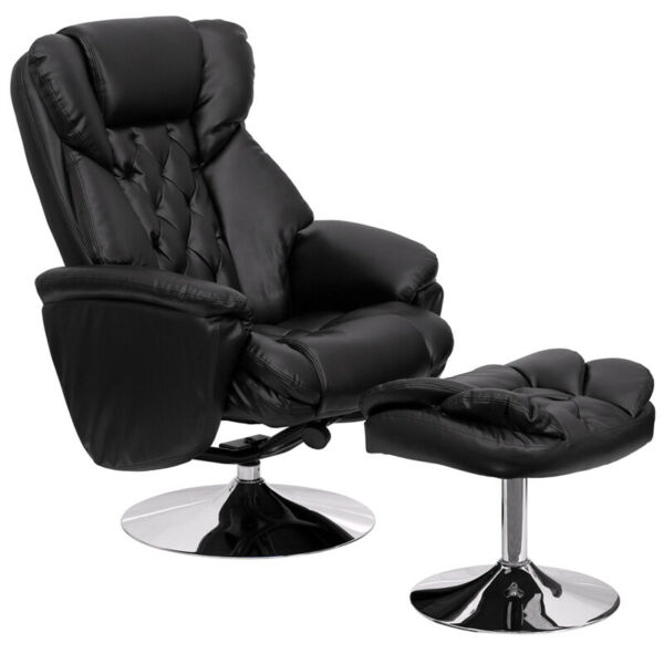 Flash Furniture Recliner amp; Ottoman With Chrome Base in Black Leather $560.73