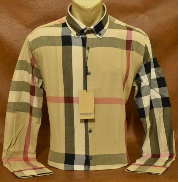 Brand New MEN#x27;S BURBERRY Long Sleeve SHIRT Size M L XL 2XL $57.90