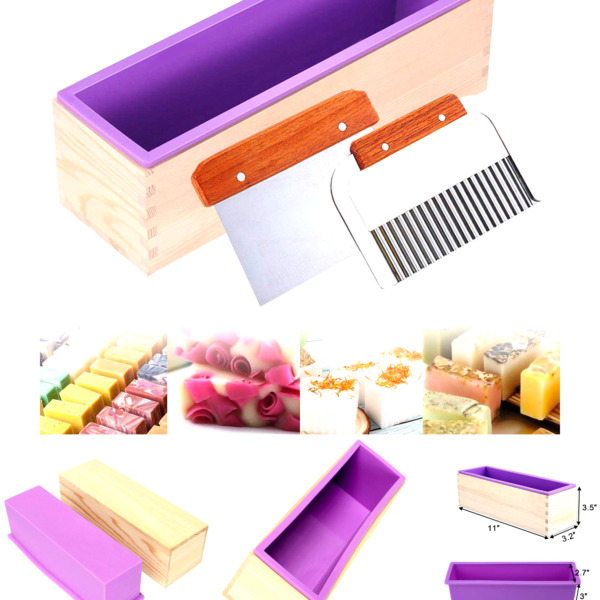 Ogrmar Silicone Soap Molds Kit 42 oz Wooden Silicone Soap Rectangular Mold wi...