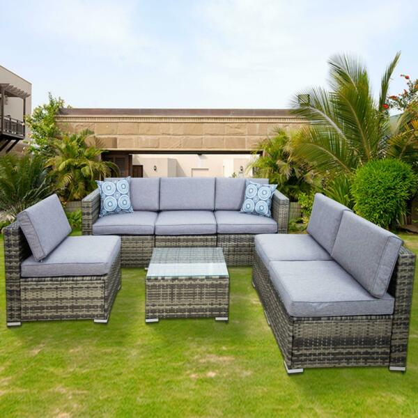 7PCS Outdoor Patio Sectional Furniture PE Wicker Rattan Sofa Set Garden Yard US