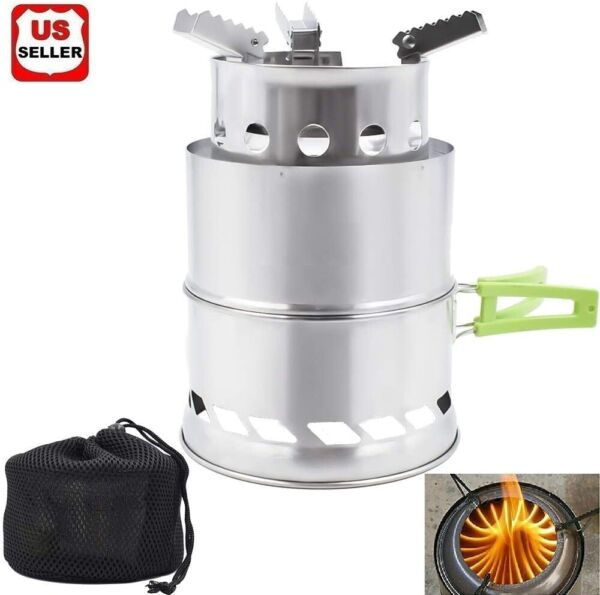 Camping Wood Stove Backpacking Wood Burning Stove Portable Outdoor Folding Stov