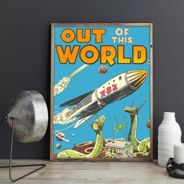 VINTAGE POSTER Retro Poster featuring Spaceship and Dinosaurs No Frame $18.99