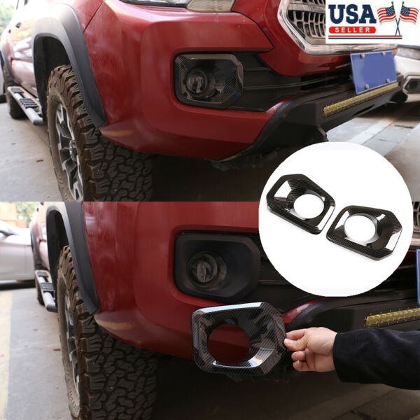 Black Fiber Front Fog Lamp ABS Cover 2 Piece Set For 2016 2020 Toyota Tacoma $24.99