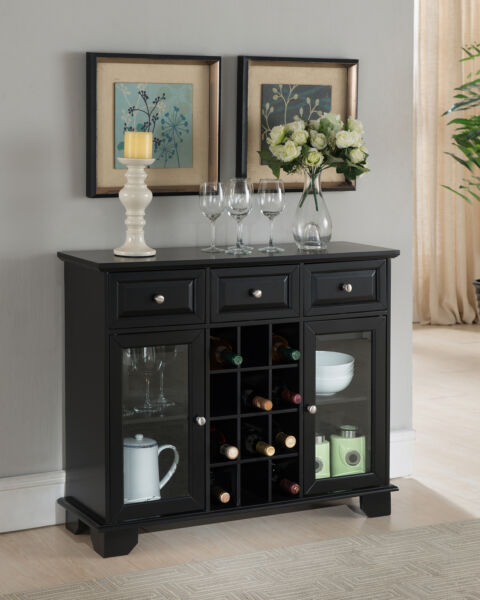 Kings Brand Furniture Buffet Server Sideboard Cabinet with Wine Storage Black
