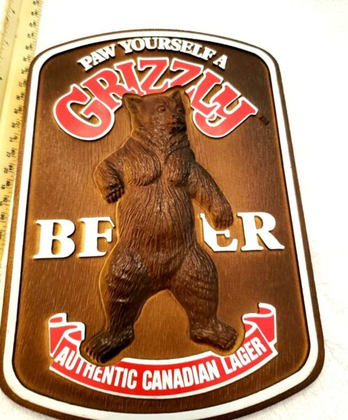 BAR SIGN CANADIAN GRIZZLY AUTHNETIC LAGER BEER 8 X 5 IMPORTED BY VAN MUNCHING