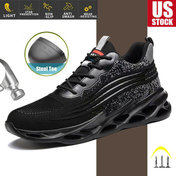 Net Safety Shoes Steel S3 Toe Cap ESD Work Boots Indestructible Men Sneakers USA $39.98