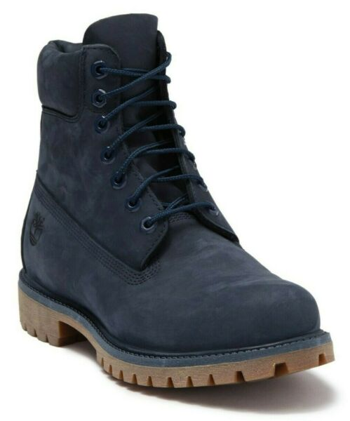 Timberland Men#x27;s 6quot; Inch Premium Waterproof Boots Blue Nubuck Leather Size 8.5 $139.99