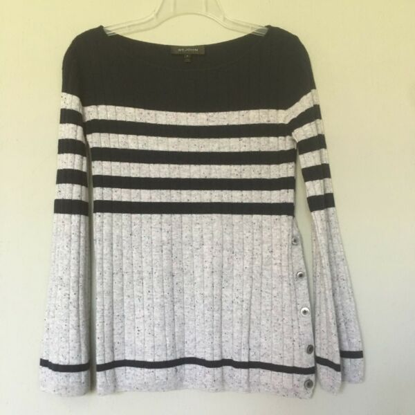 St. John 100% Cashmere Sweater Small P Black Grey Stripes Speckled Button Detail