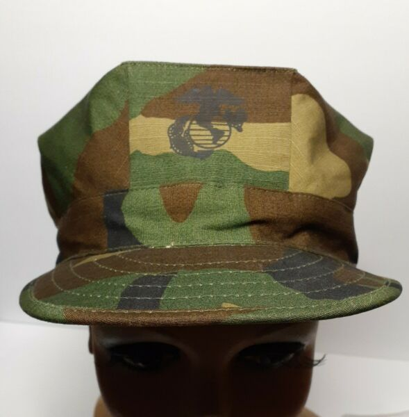 Woodland Camo USMC Hat New Cadet Cap Flaps Size Medium 8 point.