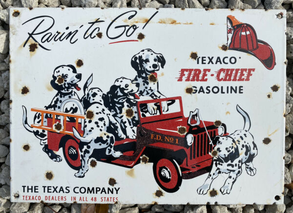 VINTAGE TEXACO FIRE CHIEF GASOLINE PORCELAIN SIGN OIL LUBE TEXAS GAS DOG JEEP $169.95