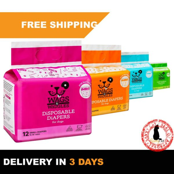Disposable Dog Diapers Male amp; Female Dog Wraps Ultra Absorbent All Sizes $12.20