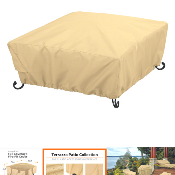 Classic Accessories Terrazzo Full Coverage Square Fire Pit Cover 30quot; 30 Inch