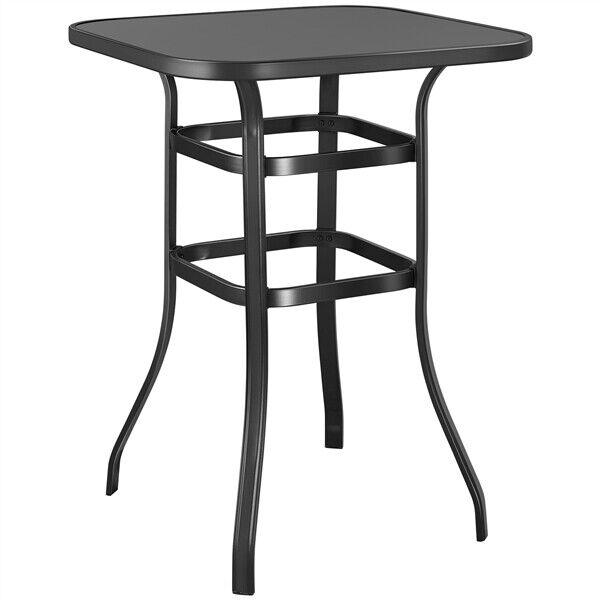 Metal Patio Bar Table 40.5'' Height High Top Outdoor Table Square Table Black $94.99
