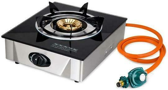 Single Propane Gas Burner Stove with Auto Ignition Tempered Glass Top
