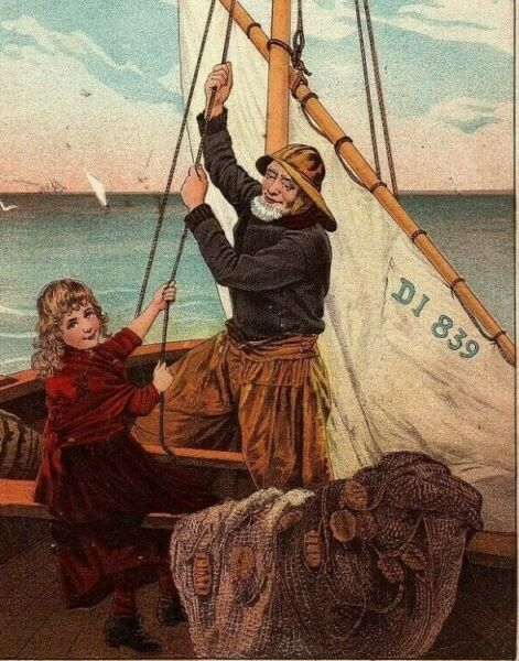 Coffee Trade Card Victorian McLaughlin#x27;s Helping Papa Sailboat Transportation