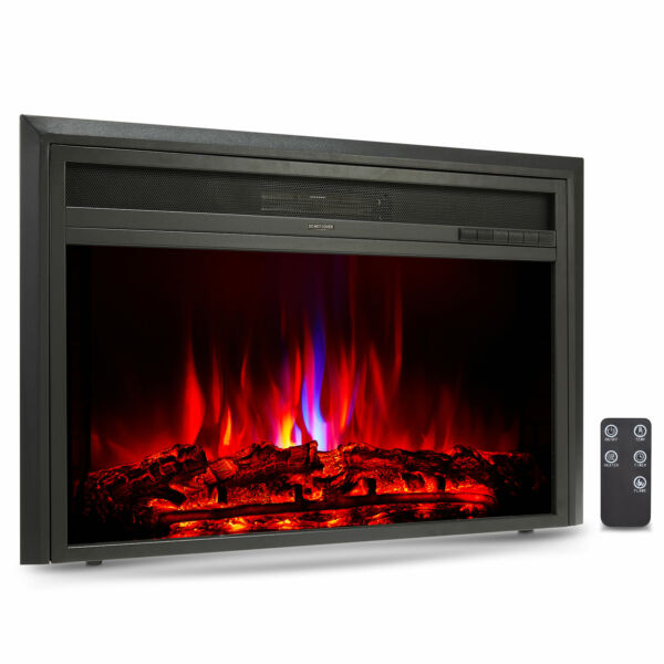 32quot; Recessed Electric Heater Fireplace Insert 6 Flame Effects TV Stands 1500W