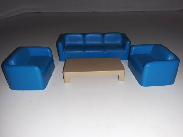 ARCO Doll House Furniture Sofa Side Chairs Coffee Table Blue