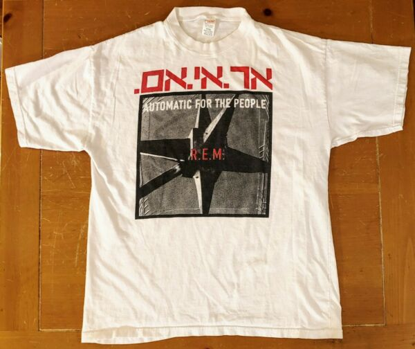 Vintage R.E.M. Automatic for the People T Shirt Hebrew XXL Made in Israel $49.99