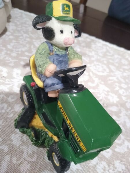 Mary#x27;s Moo Moos Deere To My Heart John Lawn Mower tractor cow figure figurine