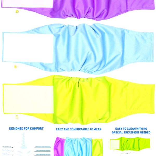 Pet Magasin Male Dog Belly Manner Band Wraps Nappies 3 Pack Medium $20.23
