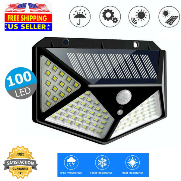 100 LED Solar Powered Light PIR Motion Sensor Outdoor Garden Yard Wall Lamp $20.99