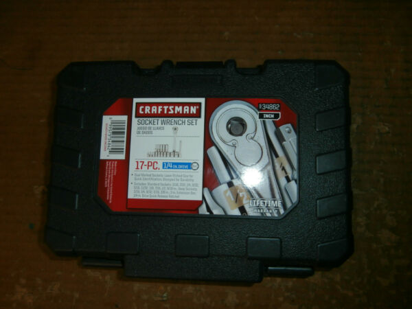 NEW CRAFTSMAN 17 PIECE 1 4quot; DRIVE 6 POINT SAE SOCKET WRENCH SET #34862