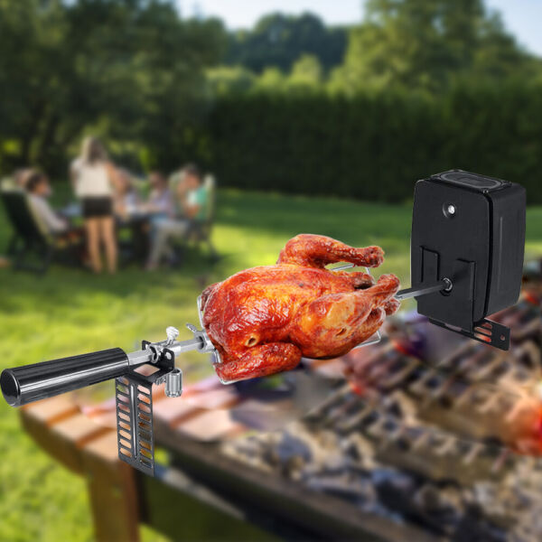 BBQ Rotisserie Kits Grill Spit Roaster Charcoal Pig Chicken Beef W Motor Rod