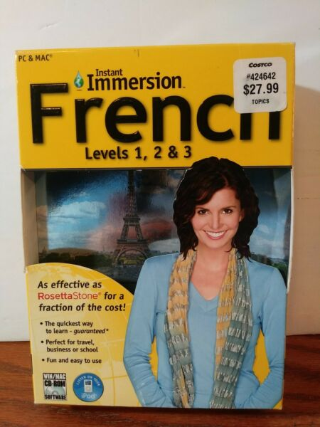 Instant Immersion French Levels 1 2 amp; 3 9 Disc Set PC amp; MAC Computer Software $8.80