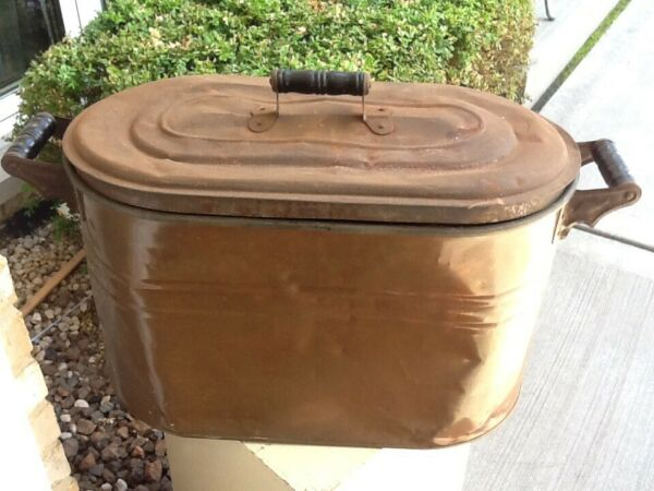 Copper Farmhouse Antique Wash Boiler Fireplace Hearth Kindling Holder
