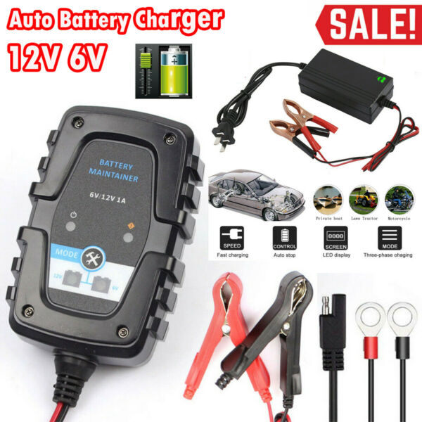 12V 6V Auto Battery Charger Motorcycle Trickle Float For Tender Maintainer Car $15.99