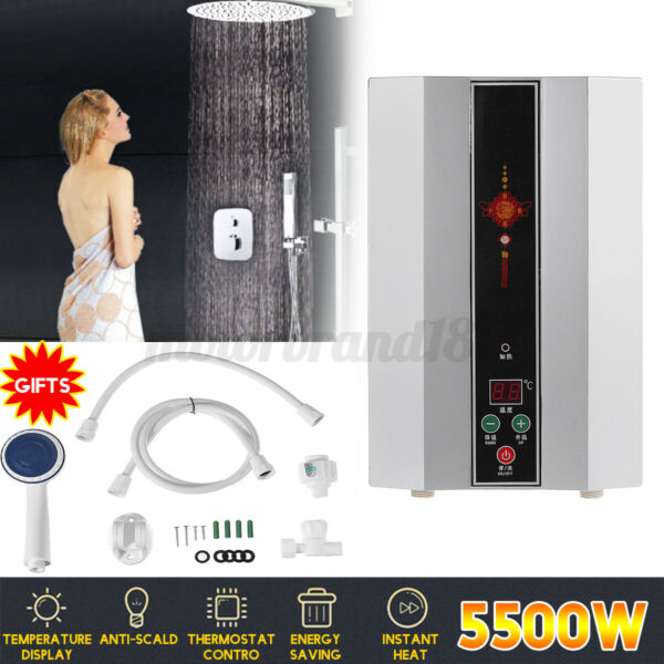 5500W 220V Instant Electric Water Heater Tankless Shower Hot Water System $105.45