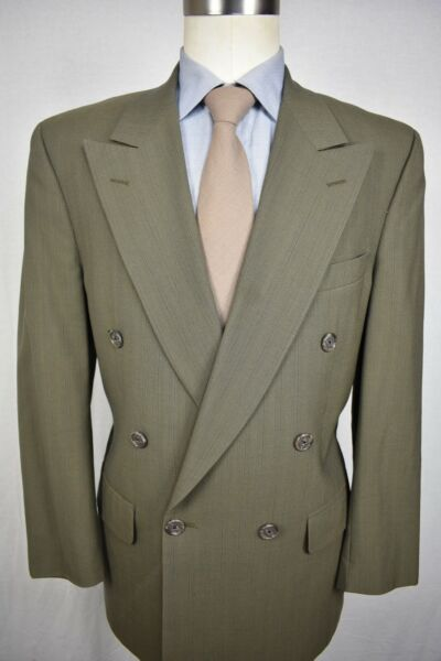 1976 1994 Burberry Green Striped 100% Wool Double Breasted Two Pc Suit Size: 40S $199.00