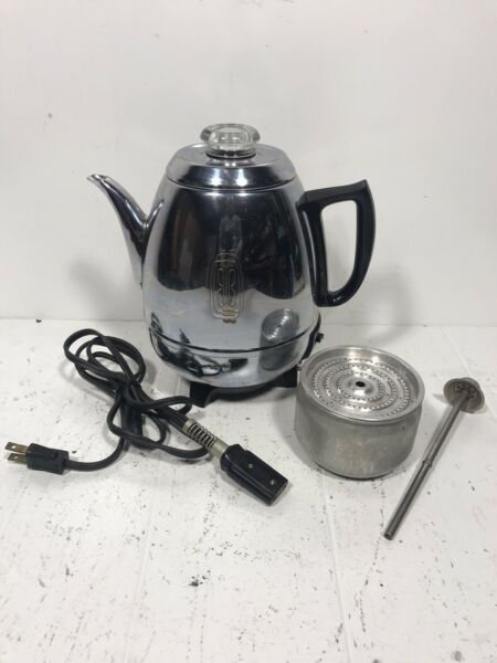 Vintage General Electric GE Automatic Coffee Percolator 68P40 Pot Belly