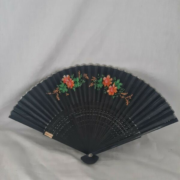 Vtg Wood Fan Silk Hand Fan Botanical Florals Balsam Orange Poppies Handpainted $11.99