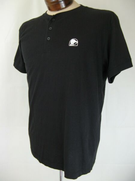 Taco Bell 3 Button Large Polo T Shirt in Black $16.00